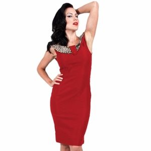 Steady Leopard Jane Wiggle Dress Red Pinup Rock…